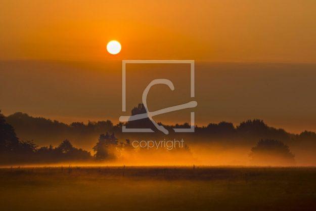 Sonnenaufgang im Teufelsmoor (Stockfoto)